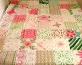 FOR MIA Vintage Chenille Baby Quilt in Spumoni Maraschino Pink, Pistachio Green, and Mocha