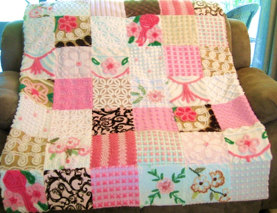 Neopolitan Vintage Chenille Baby Quilt or Throw....Vanilla Chocolate and Strawberry