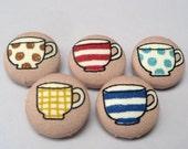Handmade Tea Cup Buttons - Set of 5 - UK Seller