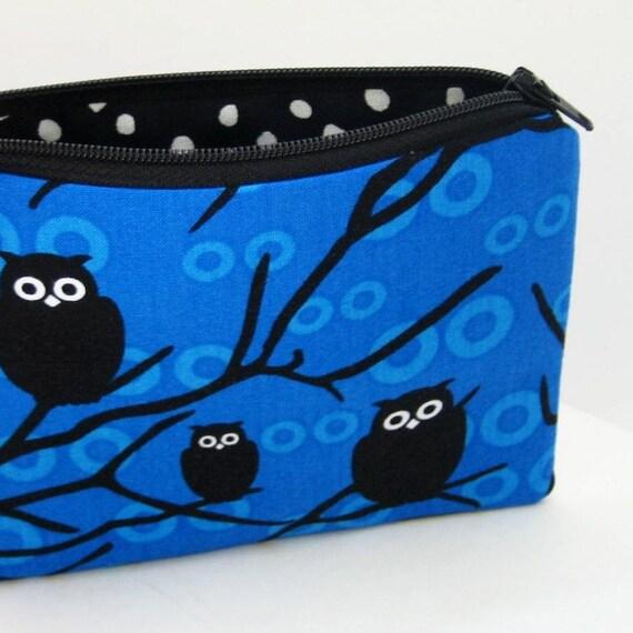BLUE NIGHT OWLS Small Zipper Pouch