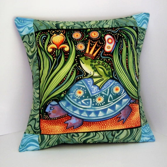 Pillow Cover - FROG PRINCE Oceanica Patchwork