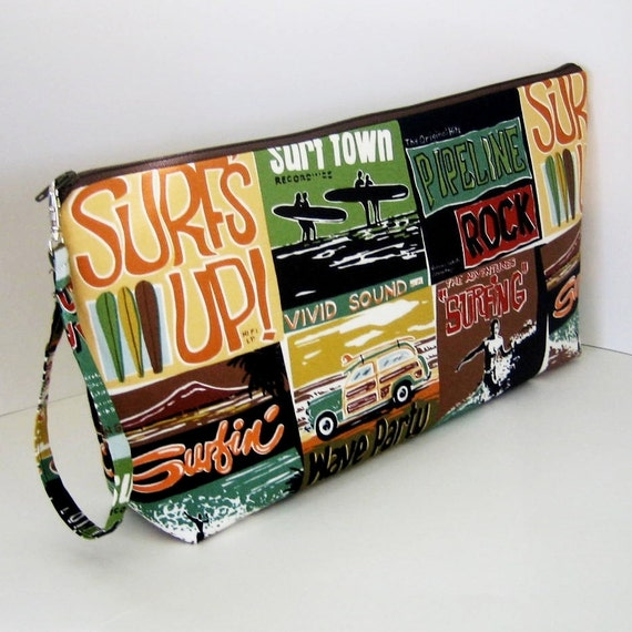 Project Bag  SURFS UP Large Zippered Pouch