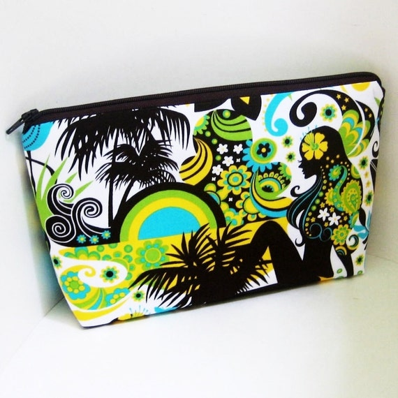 Cosmetic Bag Medium Zipper Pouch ISLAND GIRLS