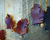 """featherheart's signature """"your state"""" necklace in leather. michigan mitt or any other state handcrafted just for you"""