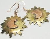Sun and Moon Earrings - Copper - Brass - Dangle