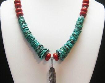 Sale Southwest Turquoise Necklace - Turquoise Necklace - Feather Necklace - Statement Necklace - Southwestern Necklace - OOAK