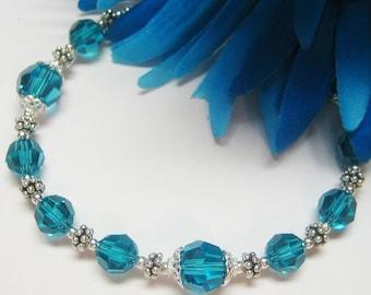 Sale Blue Zircon Swarovski Crystal and Sterling Bracelet - Blue Crystal Bracelet - Plus Size Bracelet - December Birthstone Bracelet
