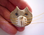 Light Brown Kitty Cat with Whiskers Pin Brooch Pet Lover Jewelry by sugargrovepottery on etsy