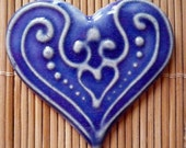 Purple  Blue Heart Jewelry White  Slip-trailed Heart Pin Brooch by sugargrovepottery on etsy
