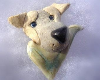 Labrador Retriever Dog with light green kerchief  Brooch