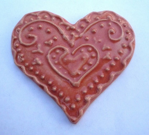 Lacy Red  Heart Brooch or Magnet Stoneware by sugargrovepottery on etsy