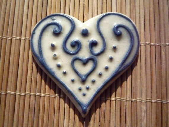 Heart Jewelry Blue Slip-trailed Heart Pin Brooch by sugargrovepottery on etsy