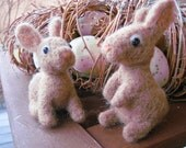 Bunny in the buff, needle felted rabbit animal sculpture