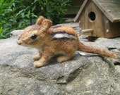 Chippi the chipmunk, needle felted animal fiber art