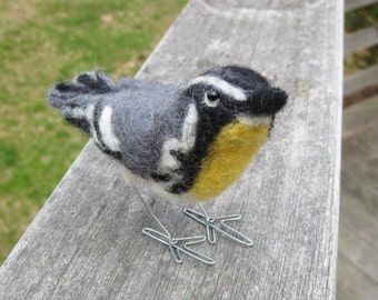 Mr. Yellow Throated Warbler, needle felted bird