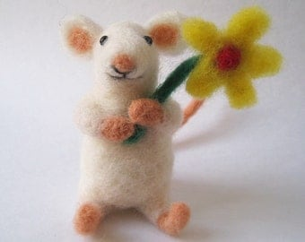 Mouse blossom, needle felted animal fiber art