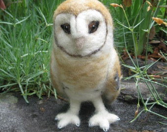 Mr. Barn Owl, needle felted bird
