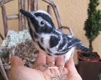Mr. Black and White Warbler, needle felted bird