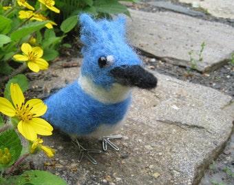 Mr. Belted Kingfisher, mini needle felted bird