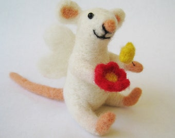 Mouse fairie, needle felted animal sculpture