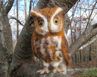 Mr. Eastern Screech Owl, needle felted bird fiber art sculpture