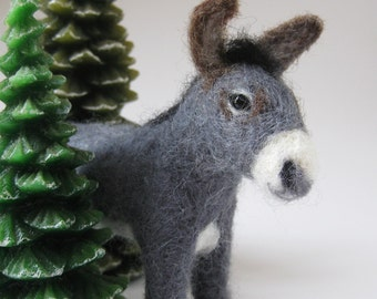 Grayson the Donkey, needle felted animal sculpture