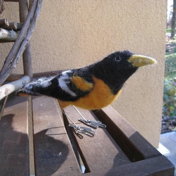 Mr. Baltimore Oriole, needle felted bird