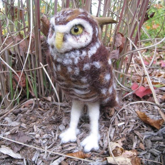 Mr. Burrowing Owl, needle felted bird