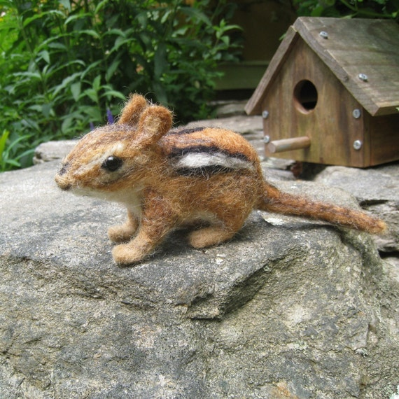 Chippi the chipmunk, needle felted animal
