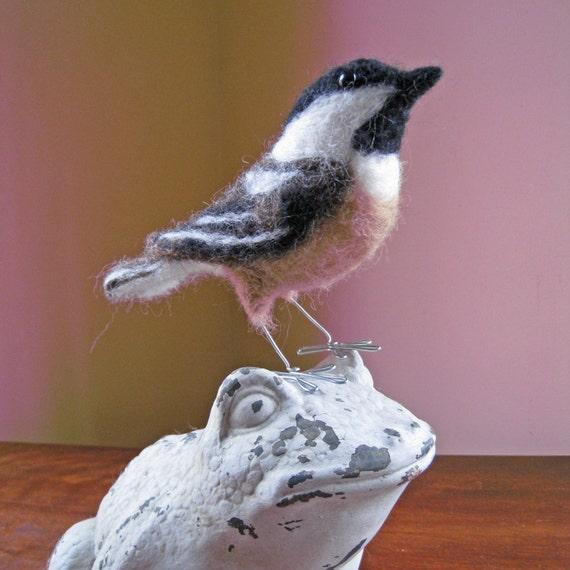 Mr. Black Capped Chickadee, needle felted bird