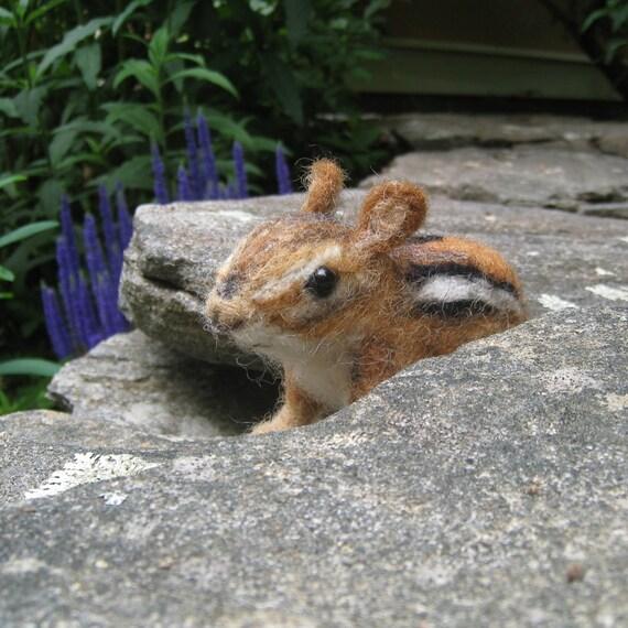 Chippi the chipmunk, needle felted animal