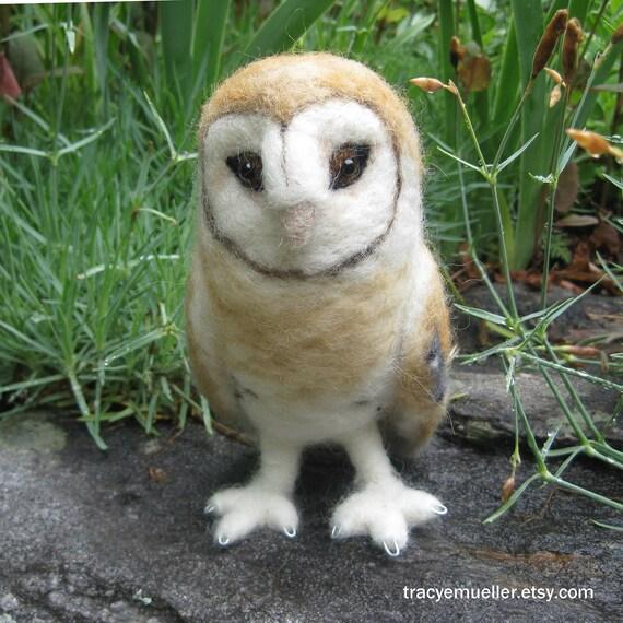 Mr. Barn Owl, needle felted bird