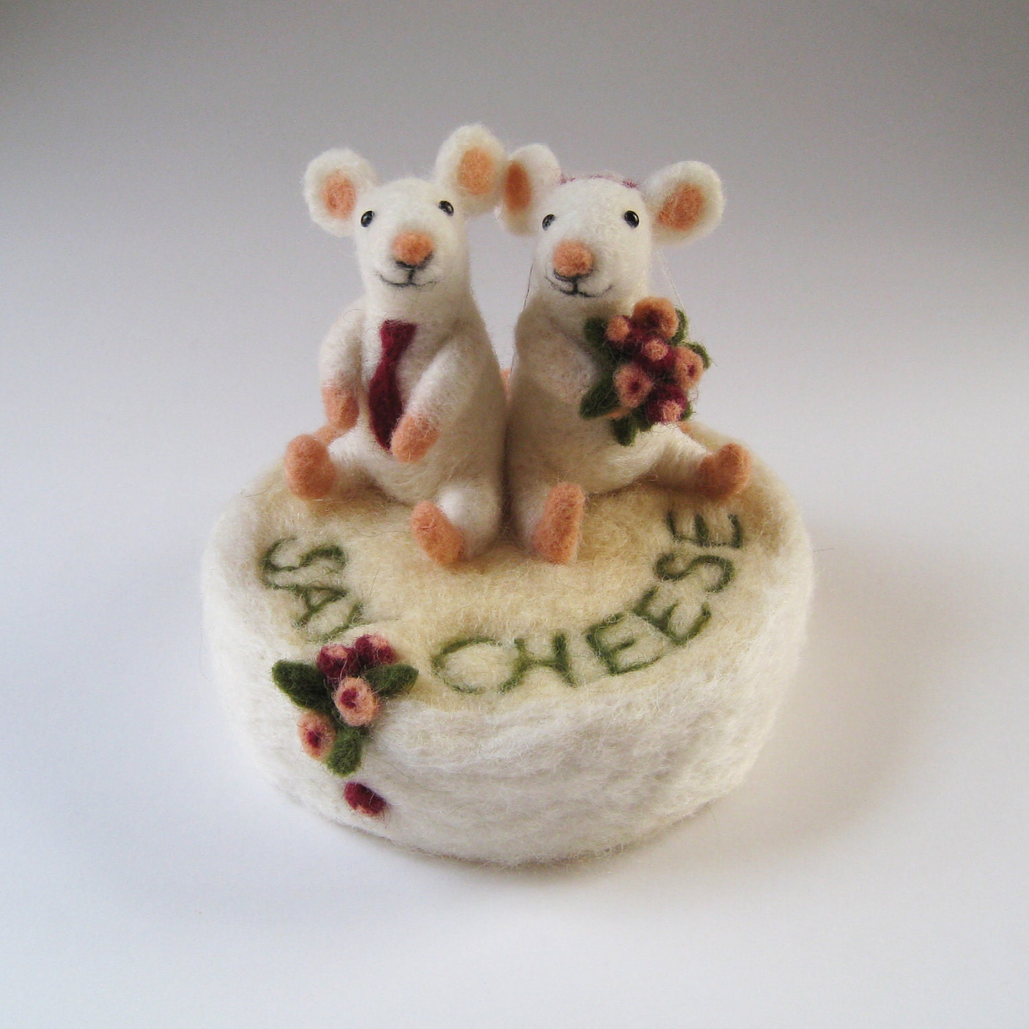 Wedding cake toppers custom made needle felted animals and