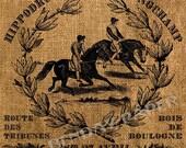 French Paris Horse Racing Antique Burlap Feedsack Illustration Digital Download 8x8