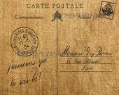 French Letter Post Card Carte Postale Antique Burlap Feedsack Illustration Digital Download 10x8