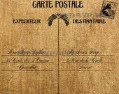 French Letter Post Card 2 Carte Postale Antique Burlap Feedsack Illustration Digital Download 10x8