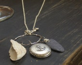 The Mariner's Cove.  Anchor Locket, barnacle and sea stone necklace