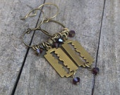 SHARPS . Rustic brass razor blade and blood red crystal macabre earrings