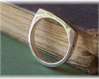The Flat Top Wedding Band Ring. Solid 14k White gold Yellow or Russian red Handmade made to order in your size. Fine jewelry