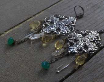 BITTERSWEET AND CURSED. Green Onyx, Tourmaline, and Citrine chandelier earrings