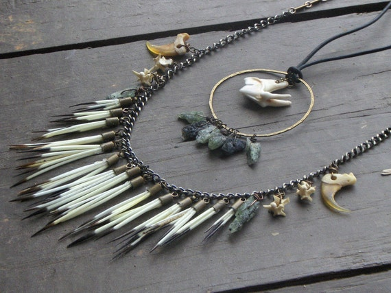 The Shapeshifter of Fairborn Mire. Porcupine Quill fringe snake bone Bobcat claws green Kyanite Coyote Molar Neck Art