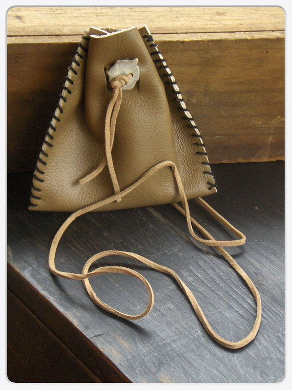 Akasha . Genuine Mushroom brown Leather Medicine Bag with Deer Antler  button. Handmade Rustic pouch By Gray Wolf's Mother