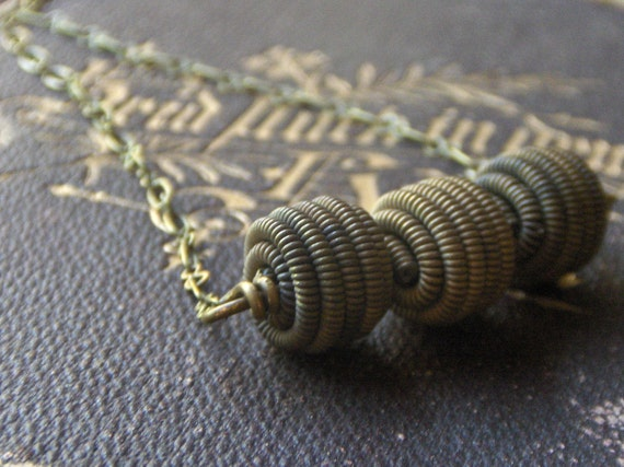 Rustica.  Vintage twisted  brass bead necklace