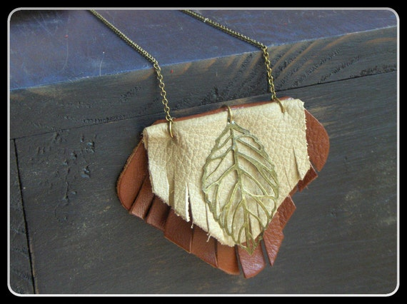 Sale 20% off. Chun Wakan. Ancient Tree Spirit. Rustic Rust red and taupe Leather and brass leaf necklace. Handmade by Gray Wolf's Mother.