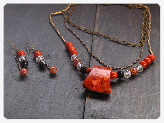 Lizzie Borden. Blood red Sponge Coral Ax Head Hatchet Tiered Necklace and Earrings Set.