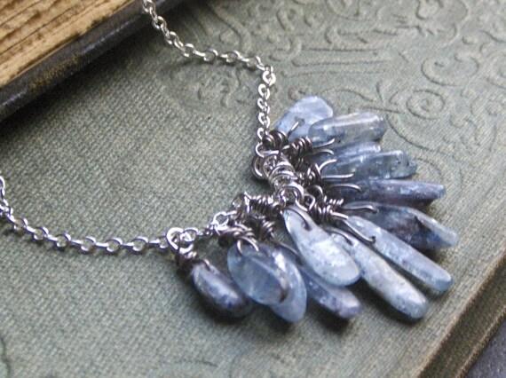 The Flux Kyanite Necklace. Blue Flash Kyanite Fringe Cluster Rustic handmade Boho necklace. Natural blue gemstone spears