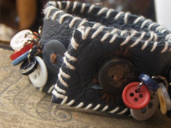 The Hereford Button Mill. Handmade Leather and Multi Button Cuff.  Vintage Buttons, Leather Bracelet, Handmade by Chymiera on Etsy