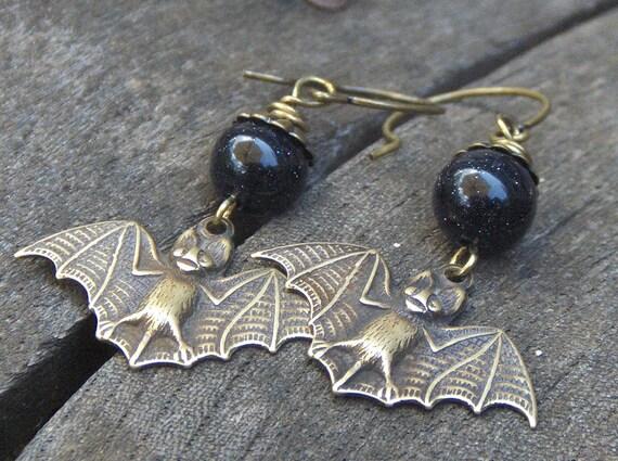 Nocturnal Mini Brass Bats and Blue Goldstone earrings