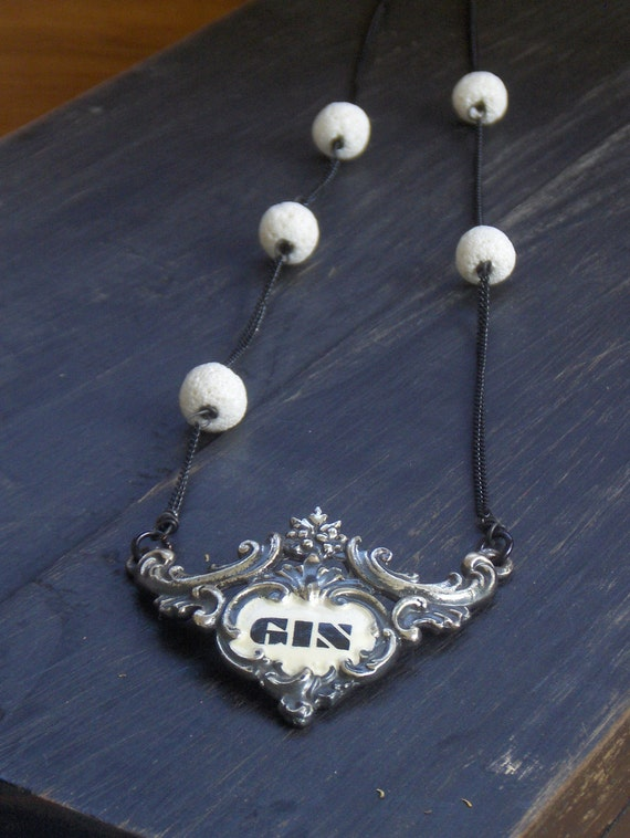 The Cotton Gin - A play on words. Vintage Liquor tag & white lava stone Bohemian statement necklace ooak