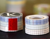 Japanese Washi Tape- Blue Green Brown Check 12mm Masking Tape- Set of 3 - from PrettyTape